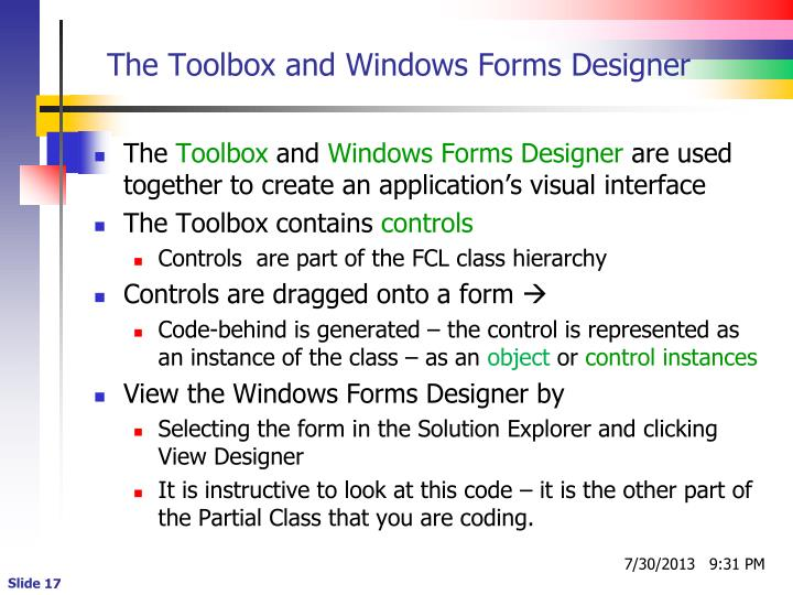 The Toolbox and Windows Forms Designer