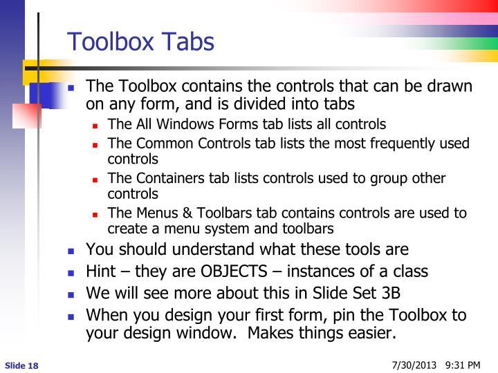 Toolbox Tabs