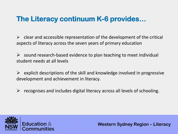The Literacy continuum K-6 provides…