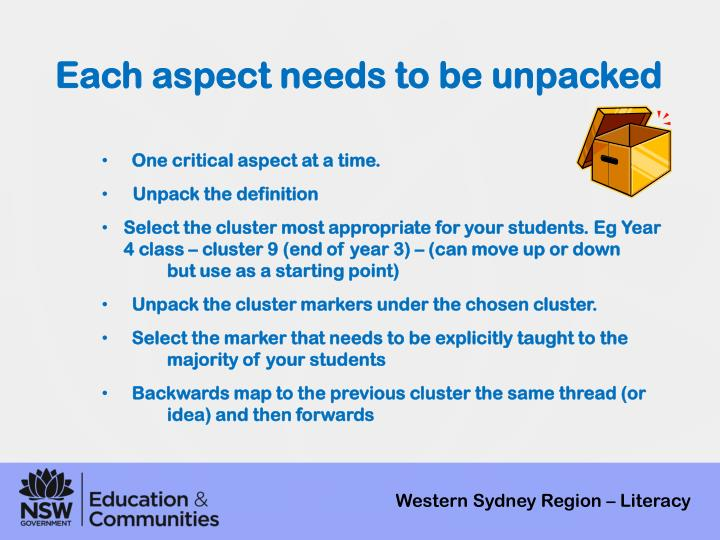 Each aspect needs to be unpacked