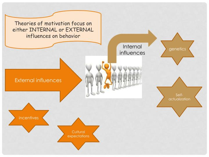 Theories of motivation focus on either INTERNAL or EXTERNAL influences on behavior