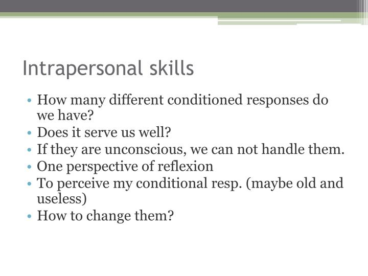 Intrapersonal skills