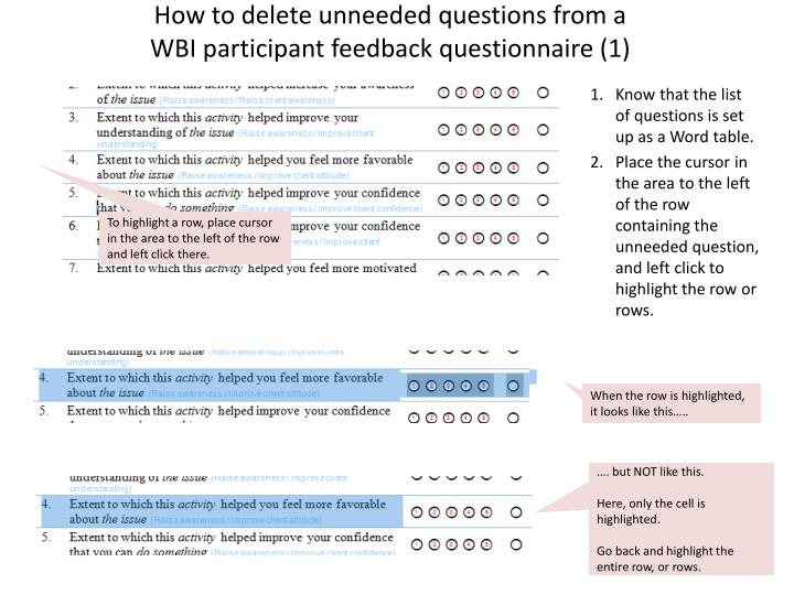 How to delete unneeded questions from a wbi participant feedback questionnaire 1