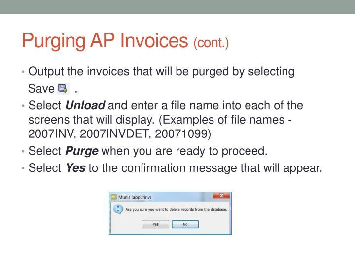 Purging AP Invoices
