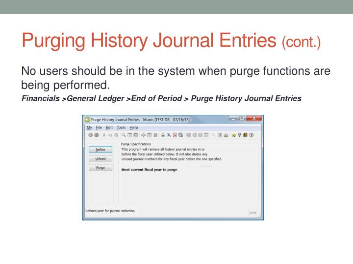 Purging History Journal Entries