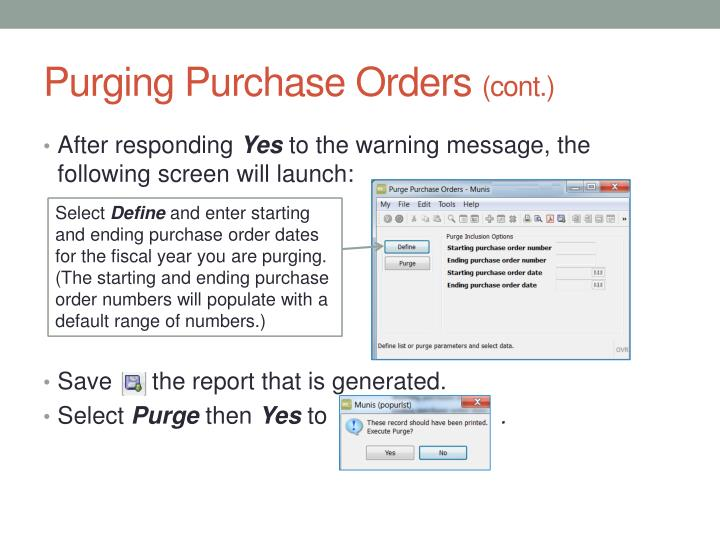 Purging Purchase Orders