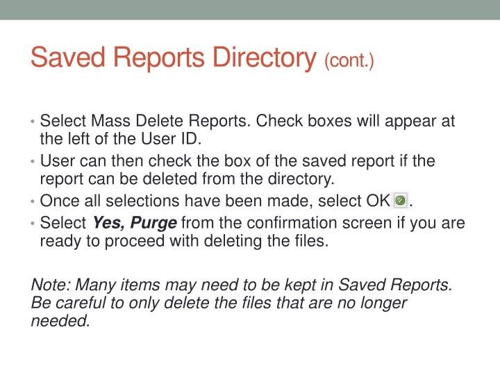 Saved Reports Directory