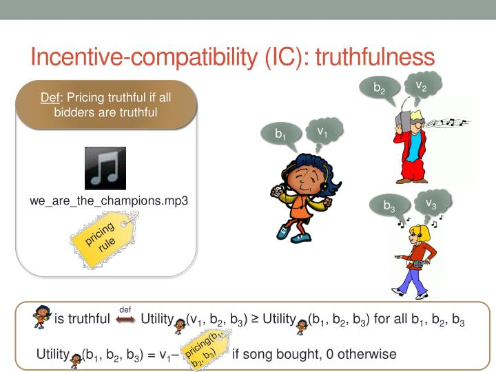 Incentive-compatibility (IC): truthfulness