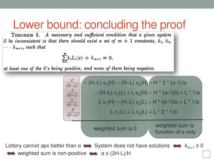 Lower bound: concluding the proof