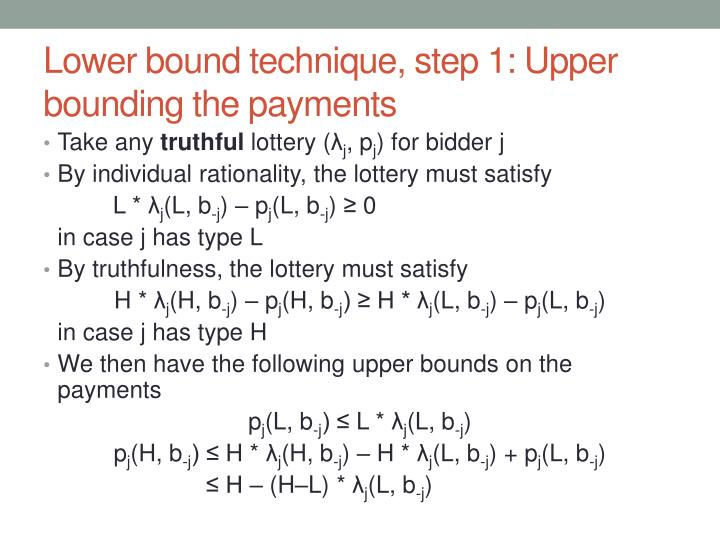Lower bound technique, step 1: Upper bounding the payments