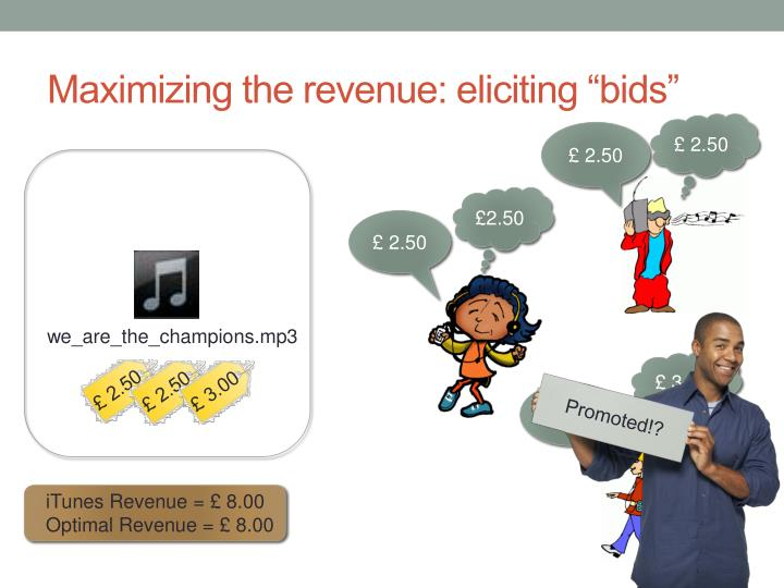 "Maximizing the revenue: eliciting ""bids"""