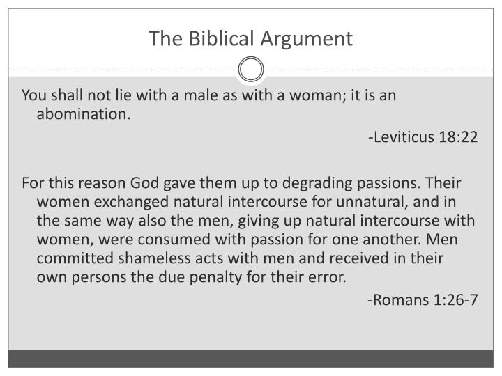 The Biblical Argument