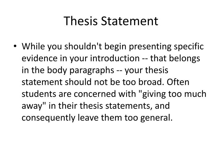 thesis statement common core