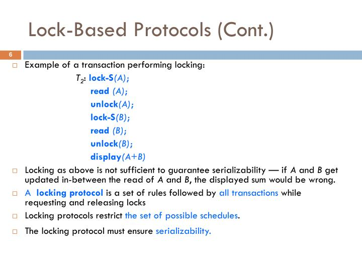 Example of a transaction performing locking: