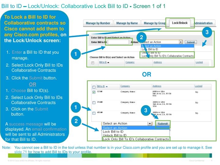 Bill to ID – Lock/Unlock: Collaborative Lock Bill to ID - Screen 1 of 1