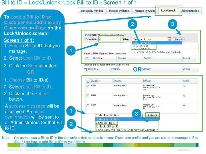 Bill to ID – Lock/Unlock: Lock Bill to ID - Screen 1 of 1