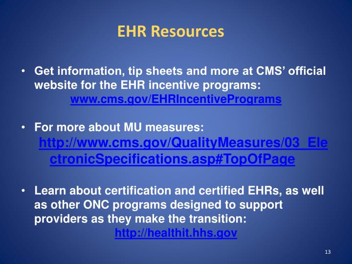 EHR Resources