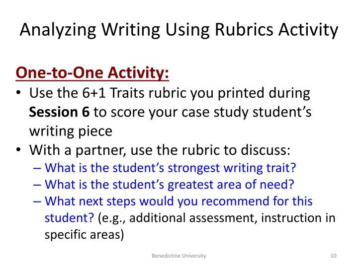 Analyzing Writing Using Rubrics Activity