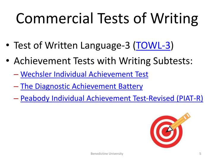 Commercial Tests of Writing