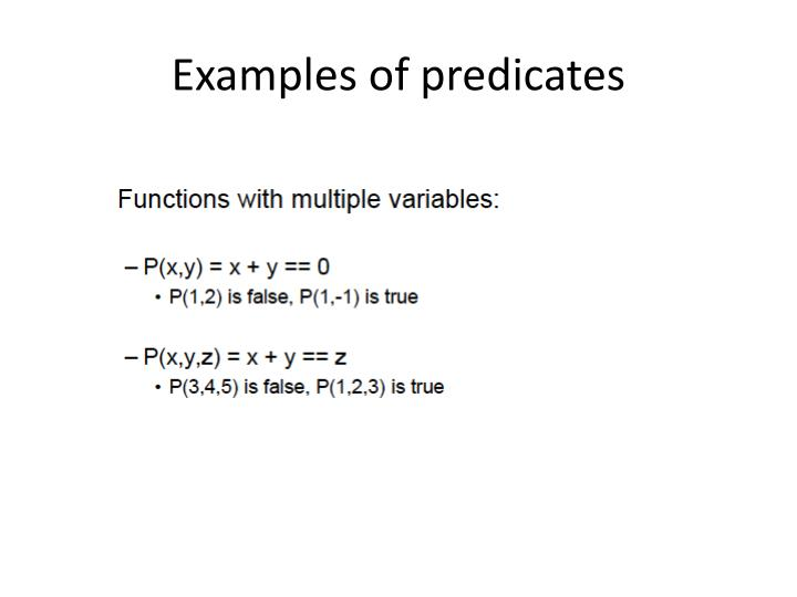 Examples of predicates