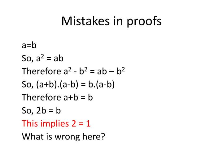 Mistakes in proofs