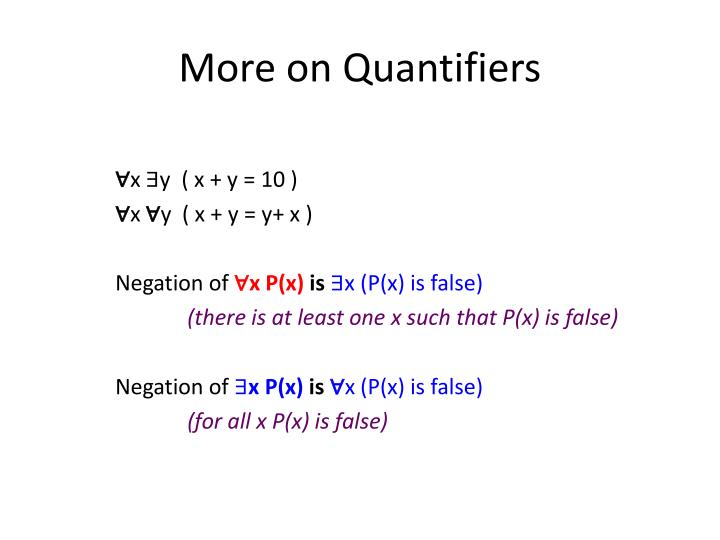 More on Quantifiers