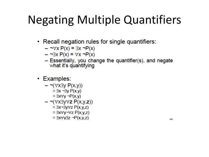 Negating Multiple Quantifiers