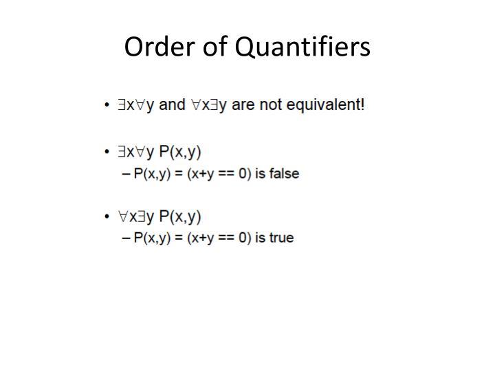 Order of Quantifiers