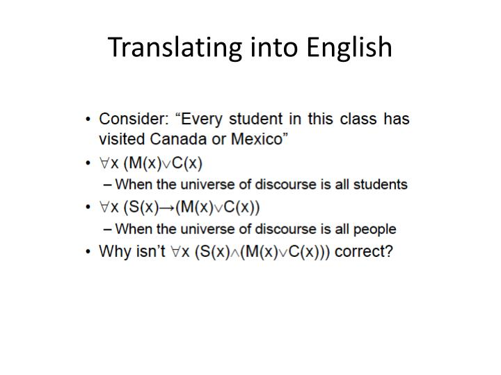 Translating into English