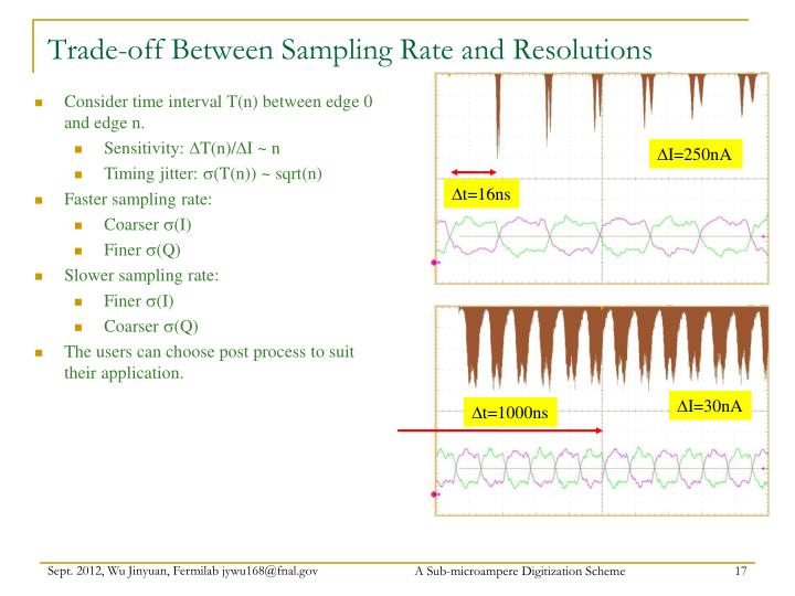 Trade-off Between Sampling Rate and Resolutions