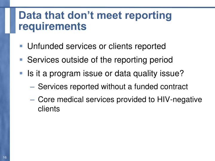Data that don't meet reporting requirements