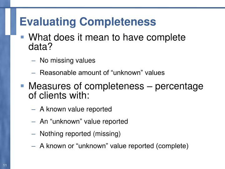 Evaluating Completeness