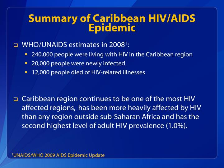 Summary of Caribbean HIV/AIDS Epidemic