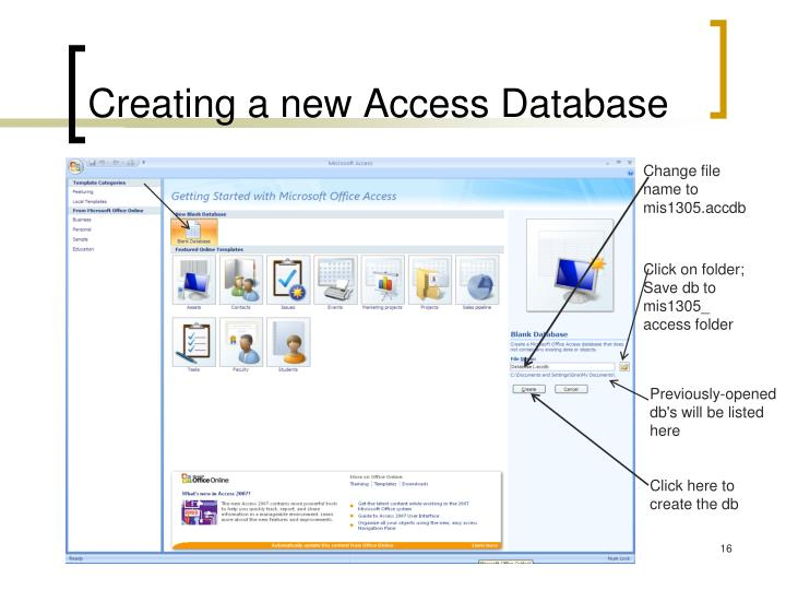 Creating a new Access Database