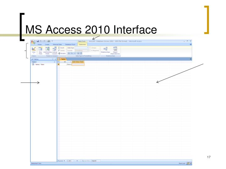 MS Access 2010 Interface