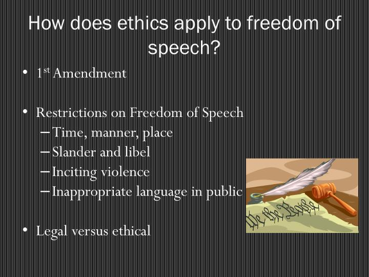 How does ethics apply to freedom of speech?