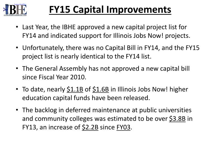 FY15 Capital Improvements