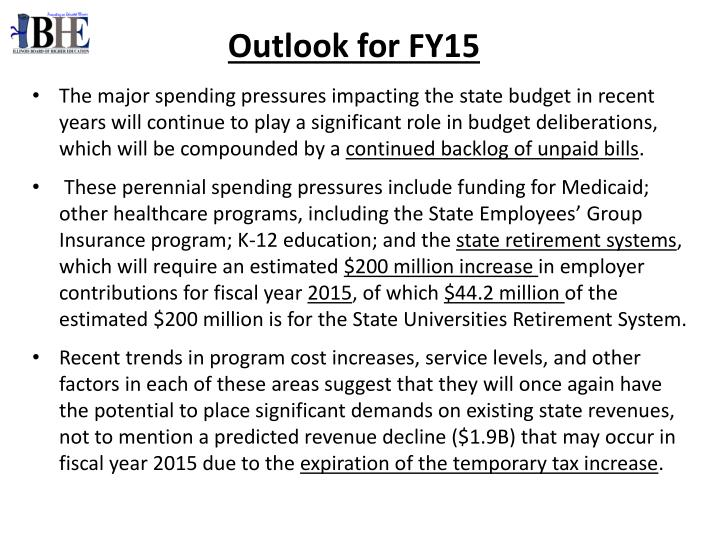 Outlook for FY15