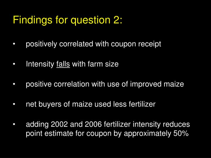 Findings for question 2: