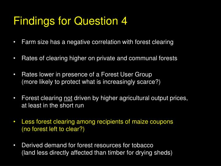 Findings for Question 4
