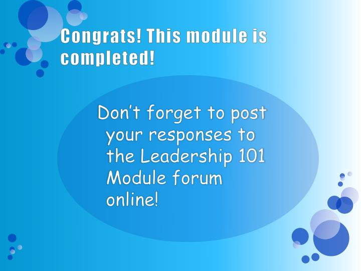 Congrats! This module is completed!