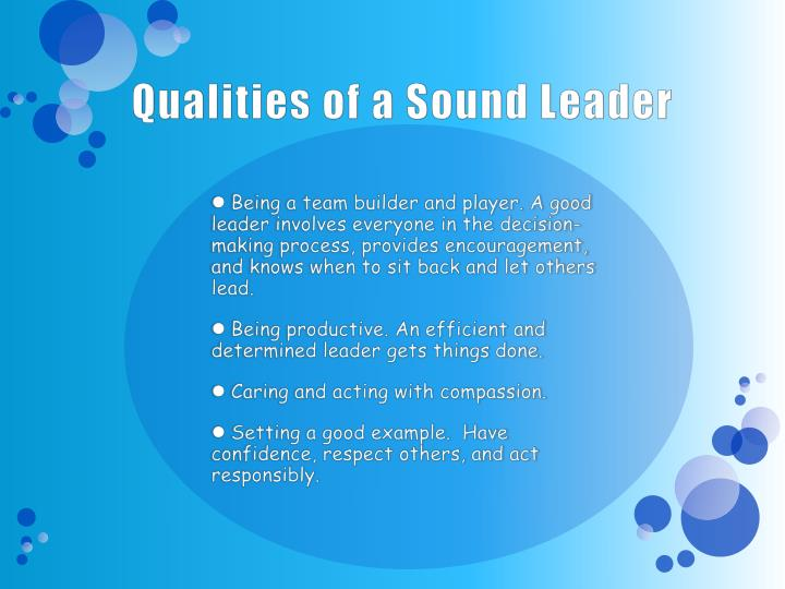 Qualities of a Sound Leader