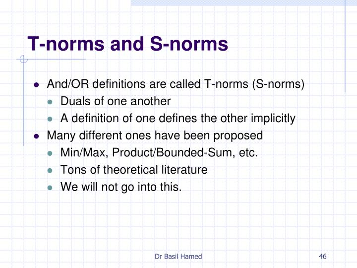 T-norms and S-norms
