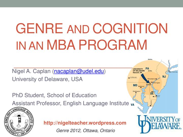 Genre and cognition in an mba program