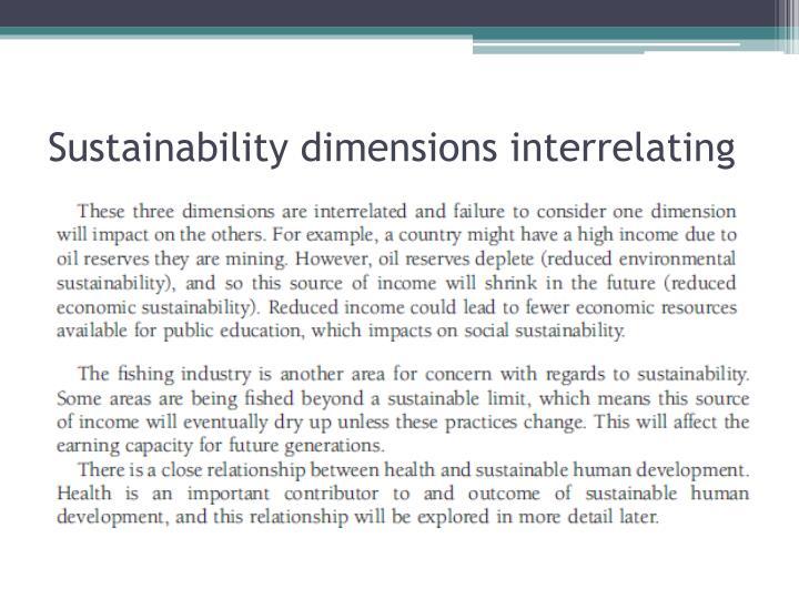 Sustainability dimensions interrelating