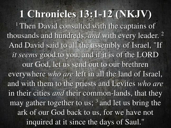 1 Chronicles 13:1-12 (NKJV)