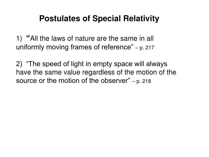 Postulates of Special Relativity