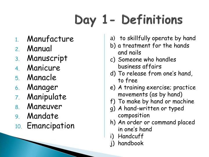 Day 1 definitions
