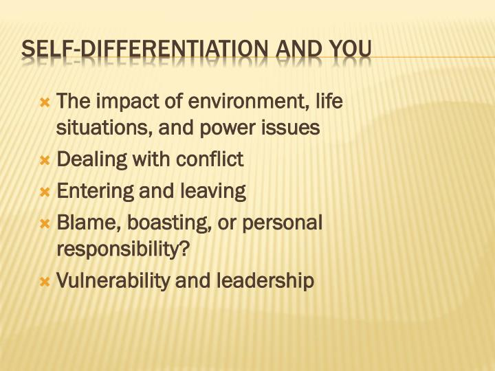 The impact of environment, life situations, and power issues