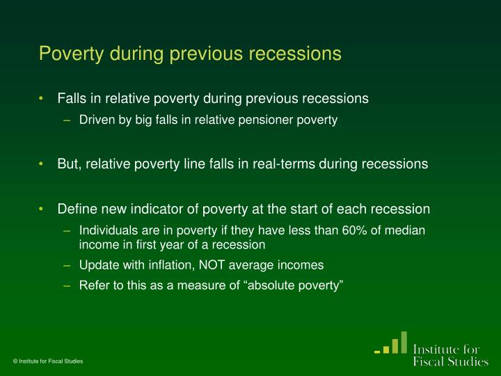 Poverty during previous recessions